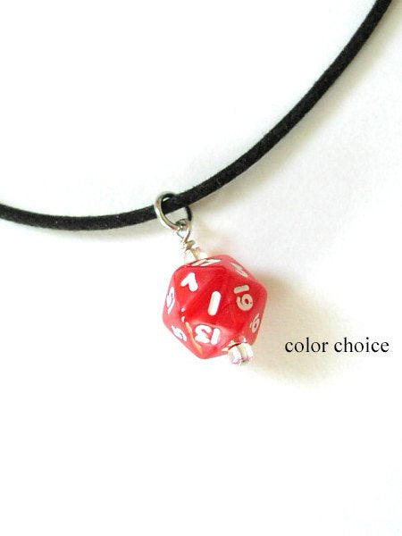 Mini D20 Dice Necklace guy men unisex gamer gifts geek polyhedral rpg stocking stuffer party favor dnd jewelry bachelor nerd dork boyfriend-Art Altered