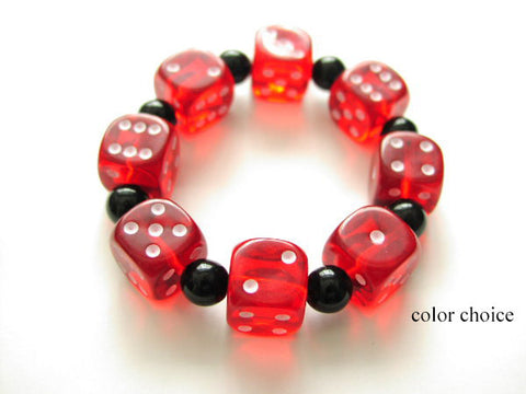 d6 Dice Bracelet Geekery COLOR CHOICE Stretch bunco party favors stocking stuffers bridal shower gambling gifts casino rockabilly jewelry-Art Altered
