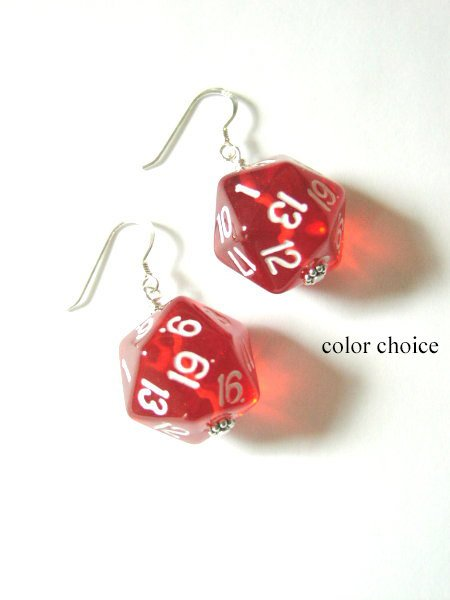 Geeky D20 Dice Earrings color choice Funky Cute geekery gamer gifts jewelry stocking stuffers recycled rpg dnd party favors polyhedral dork-Art Altered