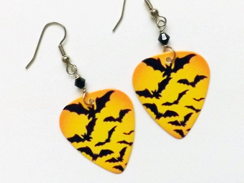 Guitar Pick Earrings Spooky Halloween bats party favors stocking stuffers gifts trick or treat costume horror goth macabre geekery-Art Altered