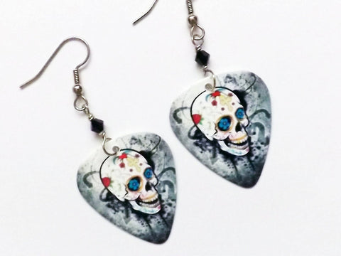 Day of the Dead Guitar Pick Earrings sugar skull dia de los muertos Halloween grunge goth skull skeleton party favor stocking stuffer gift-Art Altered