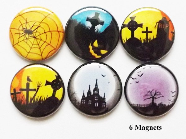 Halloween Haunted House magnets spider web cemetery spooky goth moon bats party favors stocking stuffers geekery button pins graves gifts-Art Altered