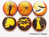 Halloween button pins badges party favors skull bats moon spider web cat geekery trick treat spooky stocking stuffers gifts flair magnet-Art Altered