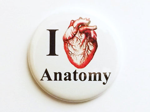 I Heart Anatomy Magnet anatomical heart geekery med student gift science biology party favors stocking stuffers human body novelty pins goth-Art Altered