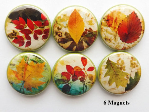 Fall Leaves fridge MAGNETS autumn nature party favor stocking stuffer shower hostess gifts thanksgiving home decor holiday pins flair rustic-Art Altered