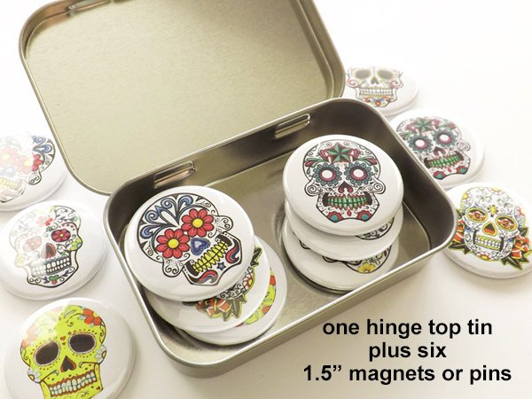 Day of the Dead Gift Set hinge top tin + six 1.5 inch magnets or pins party favors stocking stuffer sugar skull dia de los muertos halloween-Art Altered