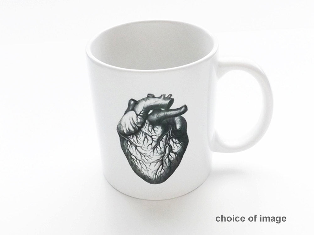 Coffee Mug Gift for him men stocking stuffer skull brain anatomical heart graduation science cardiology medical coworker school office goth-Art Altered