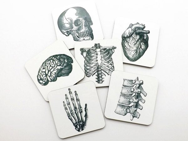 Anatomical Heart Anatomy Hardboard Coasters graduation doctor physical therapist student hostess gift him her skull medical gothic decor pa-Art Altered