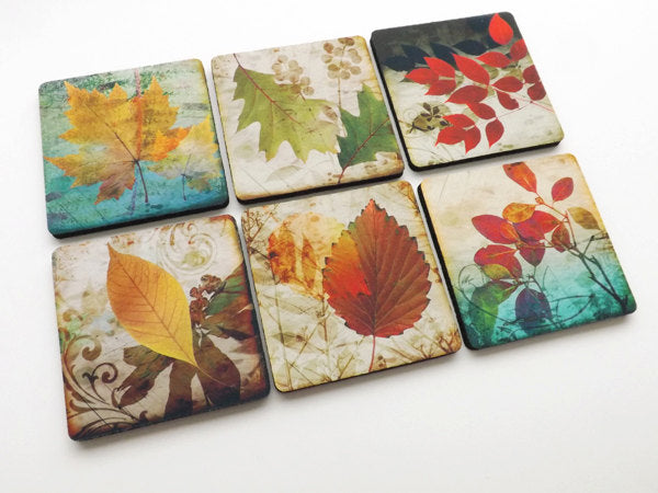 Fall Leaves drink Coaster Set autumn hostess gift holiday party favors stocking stuffers nature housewarming Thanksgiving home decor-Art Altered