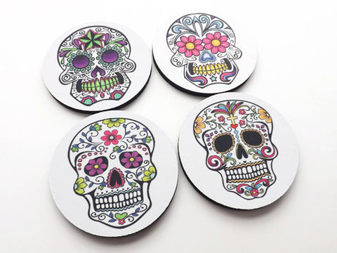 Sugar Skull Drink Coasters mug rugs mat Day of the Dead halloween dia de los muertos party favor wedding shower gift home decor till death-Art Altered