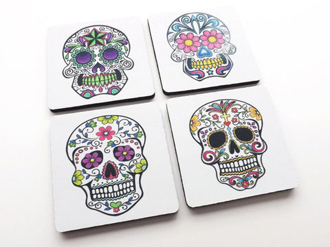 Sugar Skull Coasters Gift day of the dead dia de los muertos calavera skeleton halloween party favor stocking stuffer decor til death-Art Altered