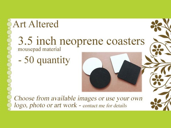 50 COASTERS neoprene / rubber custom graduation family reunion party favors personalized logo stocking stuffers wedding shower save the date-Art Altered