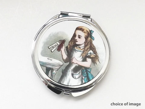 Alice pocket Compact Mirror party favor stocking stuffer accessories gift drink me mad hatter chesire cat hostess-Art Altered