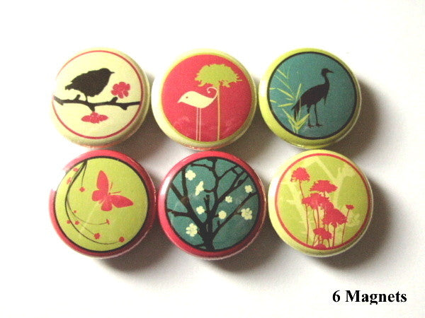 Retro Mod MAGNETS crane tree butterfly bird kids party favors-Art Altered
