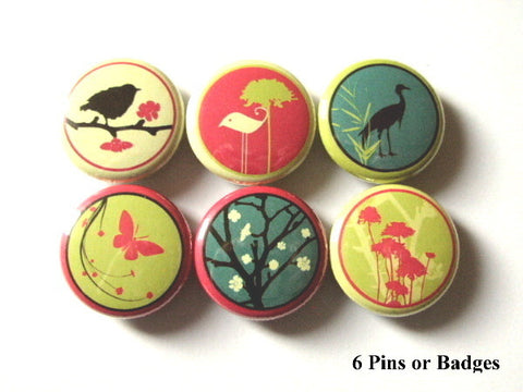 Retro Birds Butterfly PINBACK BUTTONS pins badges crane tree nature - Art Altered  - 1