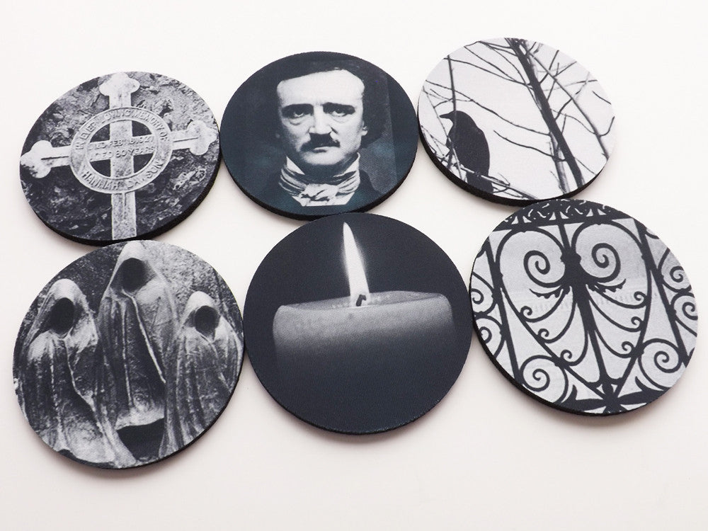 Goth Home Decor Coasters Edgar Allan Poe raven cemetery halloween spooky-Art Altered