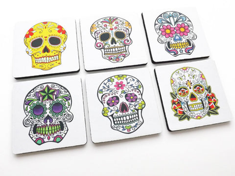 Day of the Dead COASTERS sugar skulls dia de los muertos Halloween decor - Art Altered  - 1