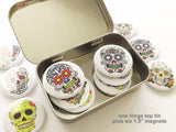 "Sugar Skulls Gift Set 1 tin + 1 set of six 1.5"" magnets or pins party favors dia de los muertos-Art Altered"