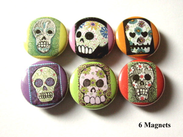 Fridge Magnet Set Sugar Skull Dia De Los Muertos Day of the Dead halloween skeleton calavera party favor stocking stuffer gift button pin-Art Altered
