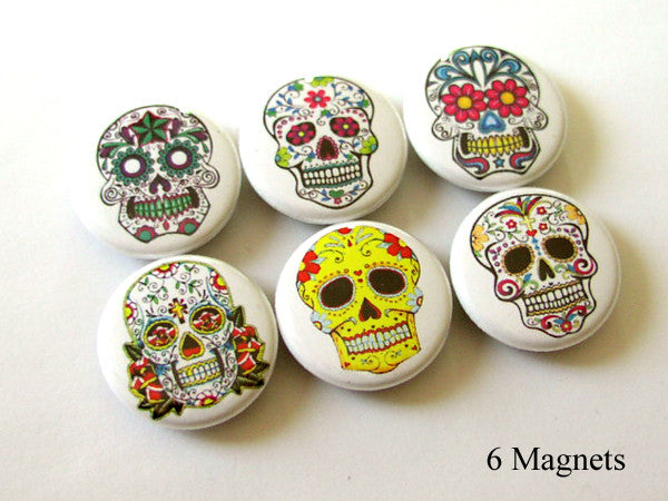 Dia de los Muertos MAGNETS calavera sugar skulls skeleton day of the dead - Art Altered  - 1
