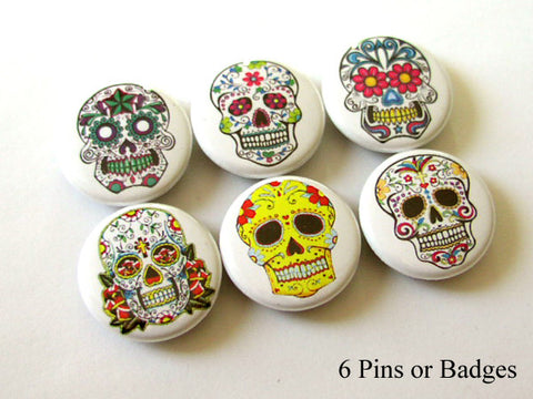 Dia de los Muertos PINBACK BUTTONS pins badges sugar skulls day of the dead halloween - Art Altered  - 1