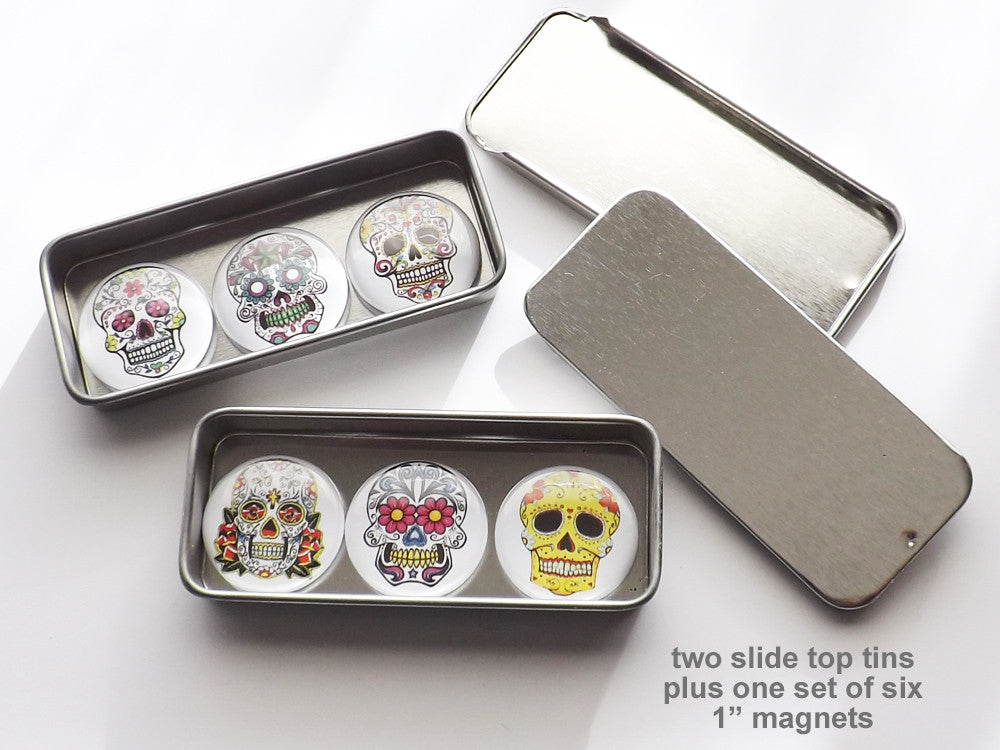 "Day of the Dead Gift Set 2 tins + 1 set of six 1"" magnets or pins stocking stuffer party favor goth-Art Altered"