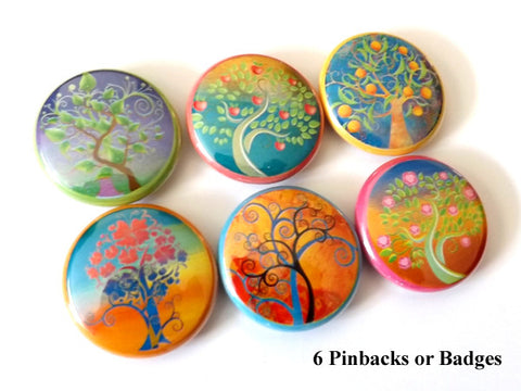Colorful Trees PINBACK BUTTONS pins badges nature funky leaves - Art Altered  - 1
