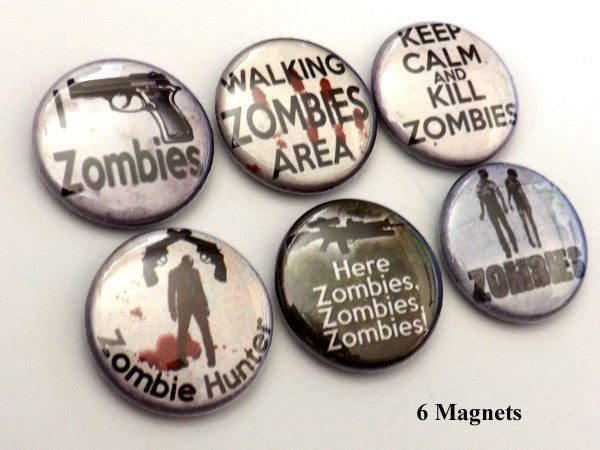 Zombie Hunter MAGNETS macabre goth halloween party favors keep calm kill walkers-Art Altered