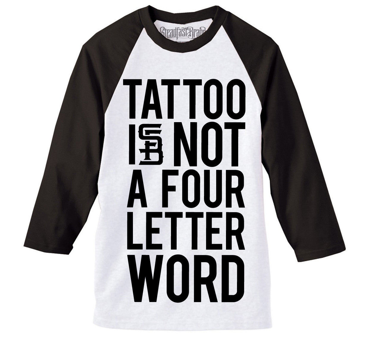 Four Letter Word Men's Baseball Tee (White/Black)