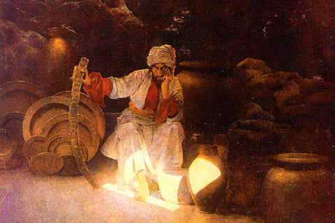 Cassim in the cave of the Forty Thieves.