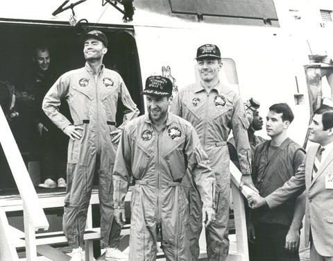 Apollo 13 astronauts after returning to Earth