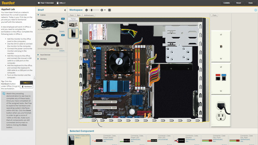 TestOut lab simulation motherboard