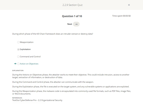 CySA+ Section Quizzes