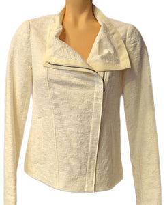 Textured Asymmetric Jacket- CREMA