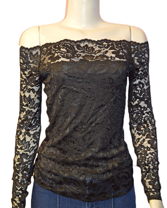 Heidi Lace Top - BLACK