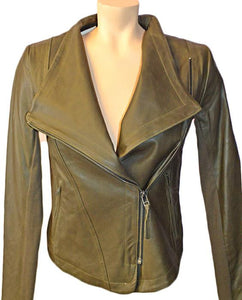 Pina Leather Jkt - KHAKI