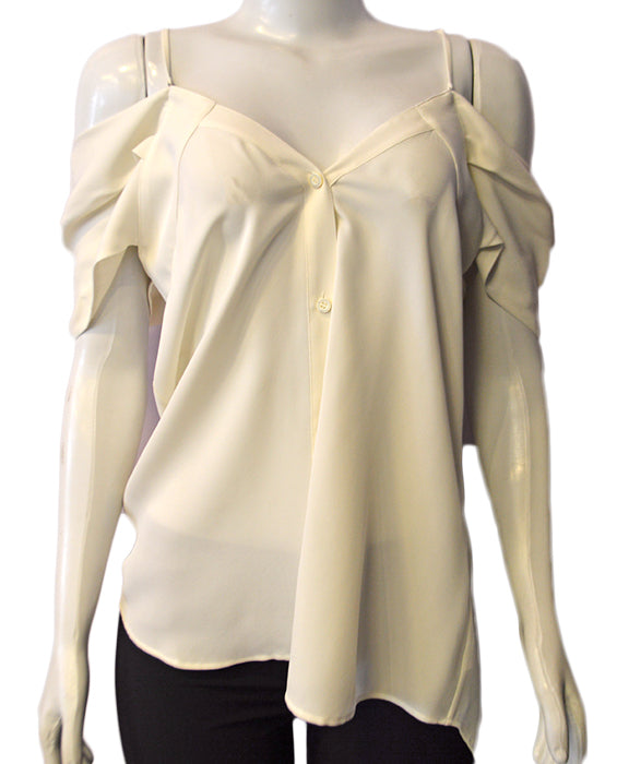 Off Shoulder Button Top -  IVORY