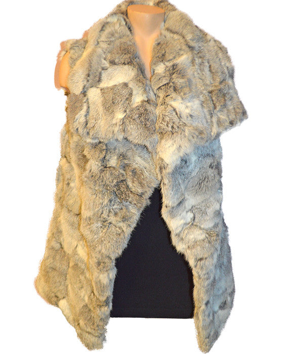 Long Hair Rabbit Vest - NATGREY