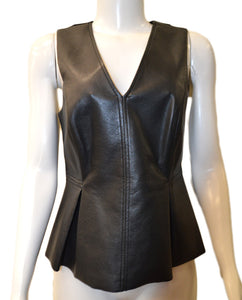 Sleeveless Vegan Leather Top - BLACK