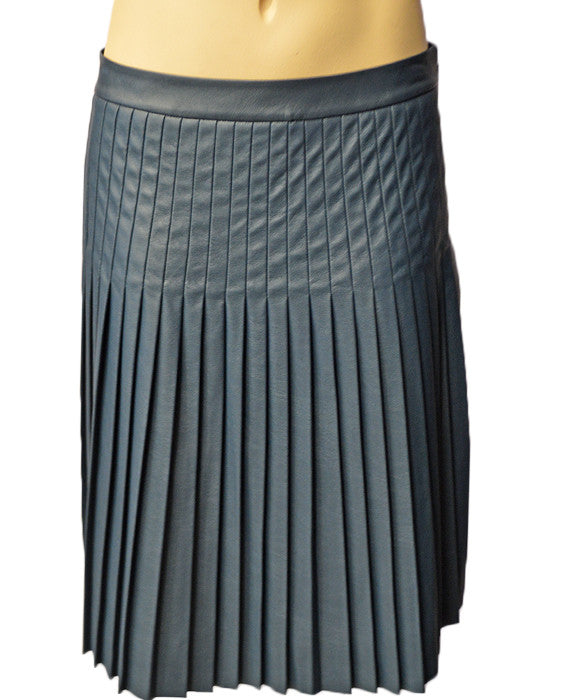 Faux Ltr Pleated Skirt - TEAL