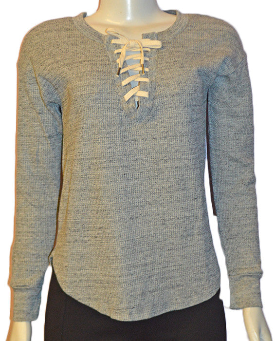 Thermal Lace Up Shirt HGREY