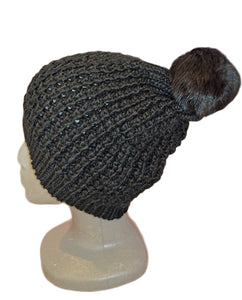 Rabbit Pom Hat - BLACK