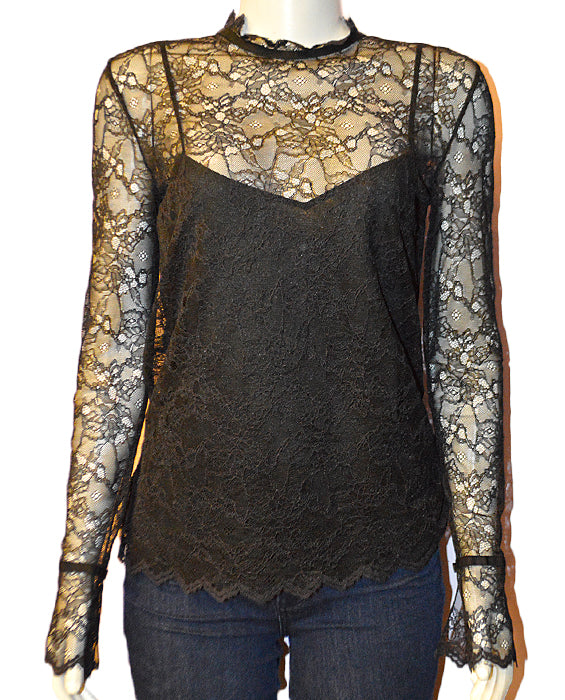 LS Lace Top Light La - BLACK