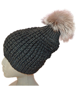 Silver Fox Pom Hat - BLACK