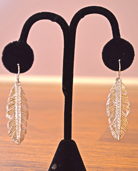 Feather Pave Earring- SILVER