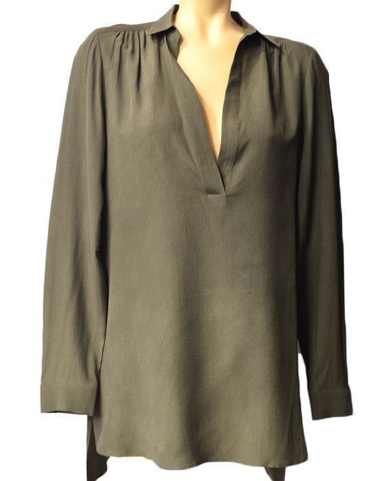 Joleen V- Neck High Low Blouse- WASHGREY