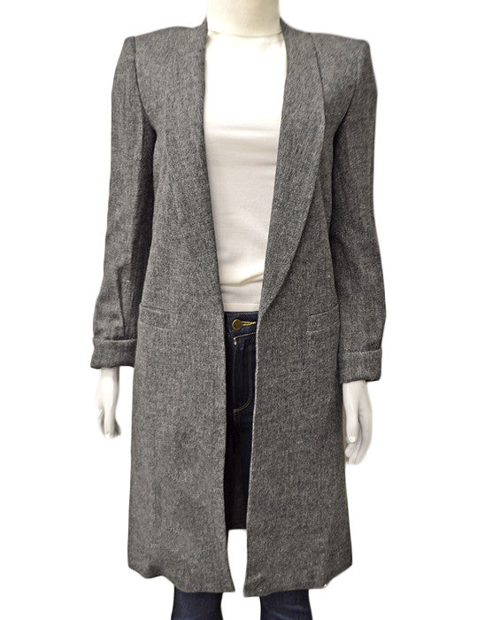 Kylie Long Shawl Collar Jacket - CHARCOAL