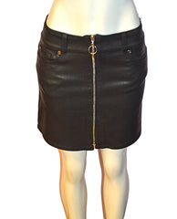 Zip Front Mini Skirt BLK