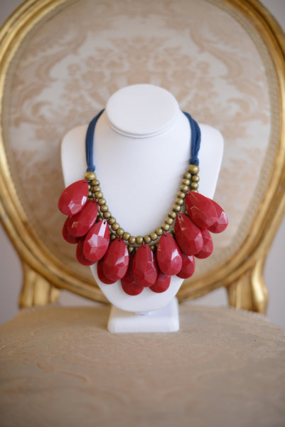 Fabric and Beads Teardrop Necklace - Pretty Please on Broad