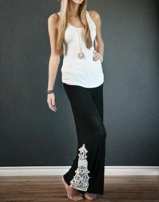 Black Lace Crochet Bottomed Yoga / Palazzo Pants